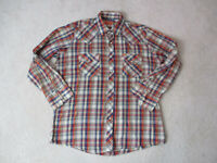 Ely Plains Pearl Snap Shirt Adult Large Brown Gold Plaid Western Cowboy Rodeo