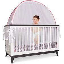 Baby Crib Tent Safety Net Pop Up See Through Soft Mesh Canopy Cover Pink