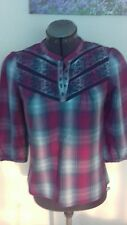 Monsoon top size 8 shirt blouse  purple check with blue embroidered design