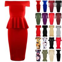 Womens Ladies Peplum Ruffle Frill Off The Shoulder Bardot Belted Bodycon Dress