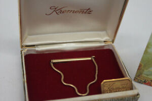 VINTAGE 14 KT GOLD OVERLAY TIE CLIP STILL IN BOX KREMENTZ ~ PERFECT Never Used