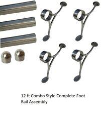 12 FT.  BRUSHED BRASS BAR FOOT RAIL KIT FOR HOME BAR-BRASS TUBE RAILING
