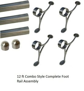12 FT.  BRUSHED STAINLESS STEEL BAR FOOT RAIL KIT FOR HOME BAR-TUBE RAILING