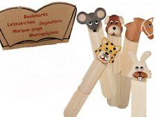 Lesezeichen 5er Set Naturholz Tiere Animals Buch Bookmark je 9 cm NEU