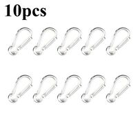 Silver 10Pcs D-ring Snap Hook Carabiner Lock Clip Keychain Climbing Backpack NEW