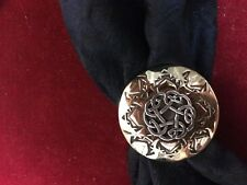 "Scarf Slide/Wild Rag Slide: Brass, with Round Sterling Celtic Knot,  1 1/4"""