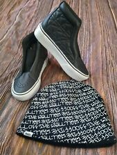 Vans Off The Wall Karl Lagerfeld Laceless Platform Black Leather Quilt shoes 3.5