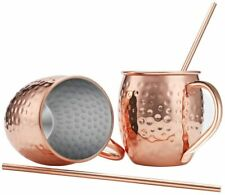 Moscow Mule Copper Mugs, Set of 2, 16 oz, Food Safe Pure So