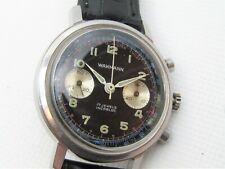 Vintage Wakmann Breitling Chronograph All Stainless Black Dial Landeron 149