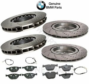 For BMW M5 M6 Front & Rear Cross-Drilled Brake Discs Pads & Sensors KIT Genuine