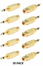 "10x RCA Female to 3.5mm 1/8"" Mono Monaural Male Audio Adapter Gold Plated F/M"
