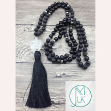 Lava Onyx Crystal Natural Gemstone Tassel Pendant Necklace Healing Stone Chakra