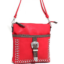 New Women's Faux Leather Messenger Bag Rhinestone Studded Croco Trim Buckle Red