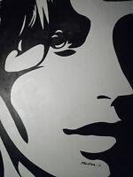 abstract black white pop art face portrait large oil painting canvas original