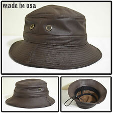 GENUINE LEATHER FOLDABLE ROUND BUCKET FERODA HAT WITH STRING MADE IN USA BROWN