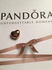 Authentic Pandora Rose Gold Plated Big Smooth Heart Charm Bead 780137 Silver 14k