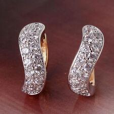 18K Yellow Gold Diamond Hoop Earrings 216