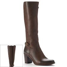 2 LIPS TOO Knee-High Wide Calf Tall Riding Boots Chunky Heel Women sz 11 BROWN