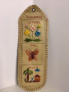 Vtg BAHAMAS Woven Mail Holder Wall Organizer Letters Bills Souvenir Kitschy
