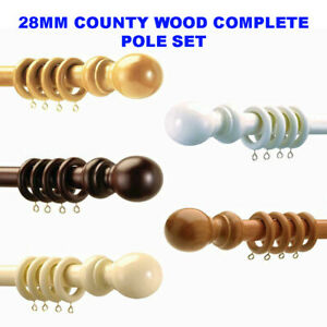 Speedy Products 28mm County Wooden Curtain Pole Sets Available in 5 Colours