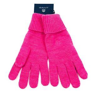 GANT Pink 100% Merino Wool Gloves One Size
