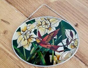 Hanging Acrylic Stain Glass Sun Catcher Hummingbird and Flowers Window Garden