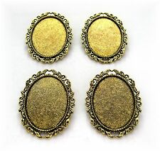 4 Ant. Goldtone Leaf & Scroll style 40mm x 30mm CAMEO Pin Brooch Frame Settings