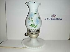 New ListingVtg White Milk Glass Electric Lamp Beautiful Blue Floral with hobnail base