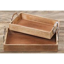 Tablett aus Holz mit Aluminiumgriffen 40cm