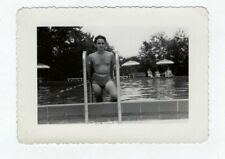 Vintage Photo Young Man Bathing Suit Pool 1940's Feb19