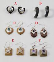 Black Onyx Fluorite Earring 925 Sterling Silver on Wood Jewelry ME3769