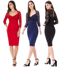 Goddess Knee Length Sleeve Scallop Lace Sweetheart Cocktail Party Evening Dress
