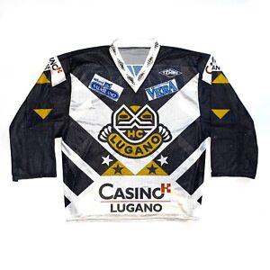 HC LUGANO SWISS ICE HOCKEY JERSEY #22 MATCH WORN SHIRT MAILLOT MAGLIA 6/XL