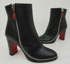 136a17e863a4 Christian Louboutin Telezip Ankle Black Boots Bootie Zipper Women s Size 36