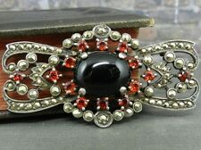 Marcasite & Garnet Bow Pin Brooch in Sterling Silver
