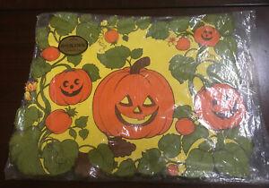 "Vintage Hallmark 6 Placemats Halloween Pumpkin 11"" X 14"" Unused"