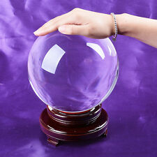 Large Clear Crystal Ball 180mm Quartz Sphere Healing Ball Wood Stand Pack Box