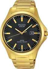 Pulsar Business Collection PX3076 - Men's Gold Solar Watch w/ Black Dial