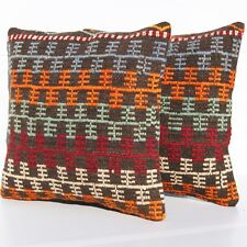 "Anatolian Pillow Covers Kelim Rug 16"" Square Wool Turkish Hand Woven Area Rugs"