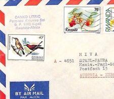 CA227 1980s Rwanda *Kicukiro* MISSIONARY CACHET Airmail Cover MIVA Austria BIRDS