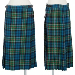 tricot COMME des GARCONS Plaids Pleats Wrap Skirt Size M(K-90577)