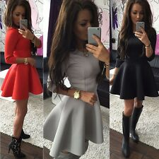 AU Women Party Cocktail Short Mini Dress Ladies Summer 3/4 Sleeve Skater Dresses