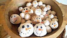Snowmen (30) Rag Ball Antique Prim Homemade Country Rustic Farmhouse Wood BowL