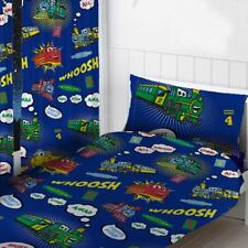 """TRAINS READYMADE CURTAINS CHILDRENS BEDROOM 54"""" DROP BLUE"""