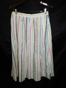 Vintage Nantucky 16 L White Yellow Red Blue Green Stripe Skirt A Line USA Made