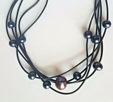 "18"" Black Freshwater Pearl Leather Necklace 5-Strands w/11 Stationed Pearls"