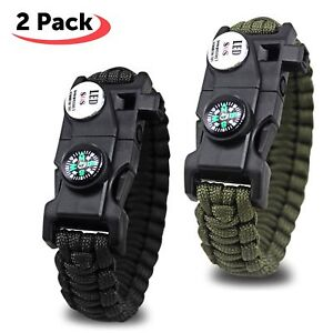 2 Bracelet Survival 20 On 1 Light LED Whistle Compass Flint Etc Hiking