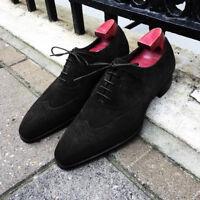 Men's New Suede Black Shoes, Handmade Men's Lace Up Wingtip Dress Formal Shoes