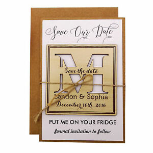Personalized Wooden Engraved Magnets Wedding Announcements With Envelopes-MG19
