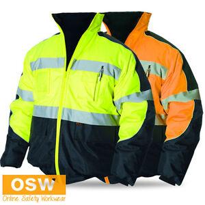 Unisex Hi Vis Orange Yellow Bomber Winter Warm Reflective Safety Work Jacket